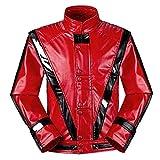 Shuanghao Unisex Thriller Beat it Rojo Chaquetas of Michael Jackson Abrigo Disfraz de Cosplay (Enviar Guantes)(XL W: 78-90 kg H:180-190cm, Rojo 1)
