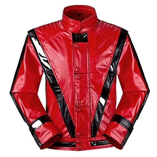 Shuanghao Hallowenn Cosplay Jacken of Michael Jackson Cosplay Custome Thriller Beat it Halloween Party Coat for Michael Jackson(Handschuh geben) (150-155, Thriller)