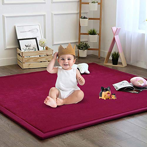 Nursery Rug, Children Baby Toddler Rugs for Living Room Bedroom Play Mat Floor Mat Foam Mat Japanese Tatami Mat Yoga Mat Thick Soft Cozy Non-Toxic Easy to Clean, Wine Red, 79 by 98 Inch