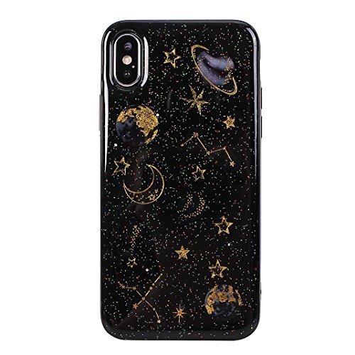 Hülle für iPhone X, iPhone 5.8 Zoll Schutzhülle, Handyhülle für iPhone 10, Silikon Schutzhülle- Schutz Tasche Cover Bumper Skin Hülle Anti Rutsch für Apple iPhone X iPhone 10, Planet Schwarz