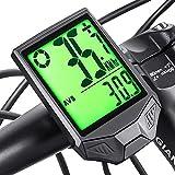 Phiraggit Cuentakilómetros para bicicleta, velocímetro de bicicleta inalámbrico multifunción a prueba de agua con gran retroiluminación LCD, para ciclismo de carretera al aire libre y fitness