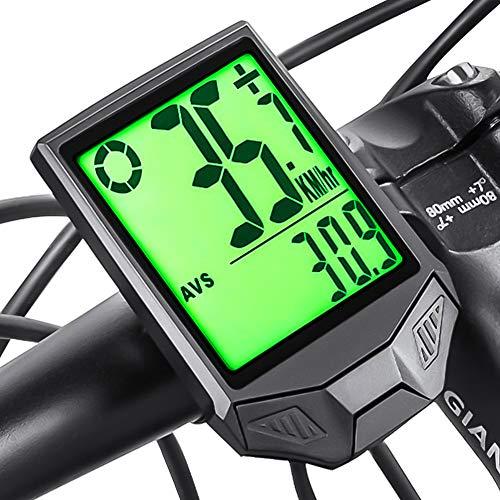 Phiraggit Fahrrad-Tachometer Kilometerzähler, wasserdichter kabelloser Fahrrad-Tachometer mit großer LCD-Hintergrundbeleuchtung, Multifunktions-Fahrradcomputer