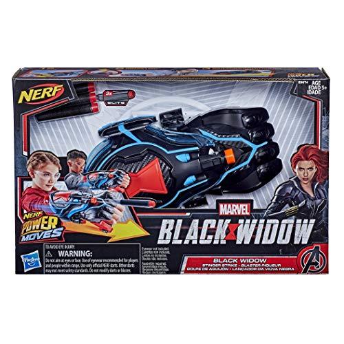 Hasbro NERF Power Moves Marvel Black Widow Stinger Strike Blaster Rollenspielzeug mit Dart-Abschuss, enthält 3 Darts, für Kinder ab 5 Jahren