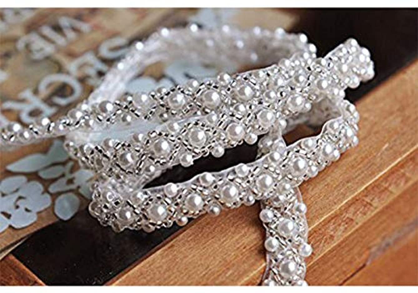 QueenDream Elegant Wedding Silver Rhinestone Applique with Pearls -2yard