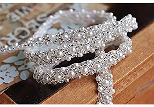 QueenDream Elegant Wedding Silver Rhinestone Applique with Pearls 2yards