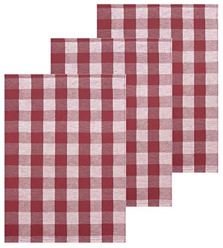 Lashuma Karierte Küchentücher 50x70 cm, 3X Geschirrtücher Halbleinen, Farbe: Granat Rot