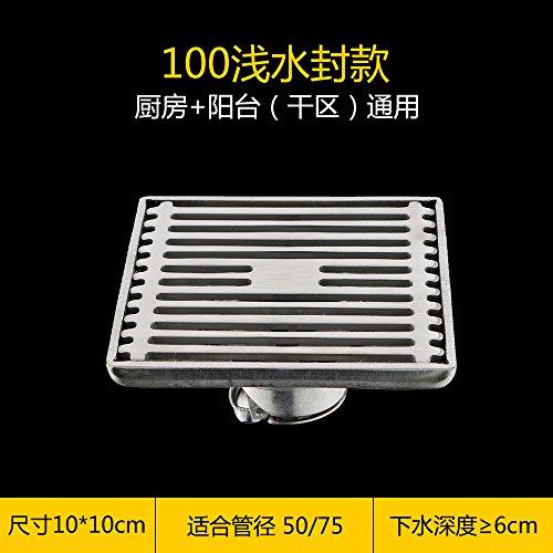SDKKY acier inoxydable 304 rectangulaires de siphon toilettes toilettes balcon les grands déplacements forte odeur couverture des drains de plancher,un
