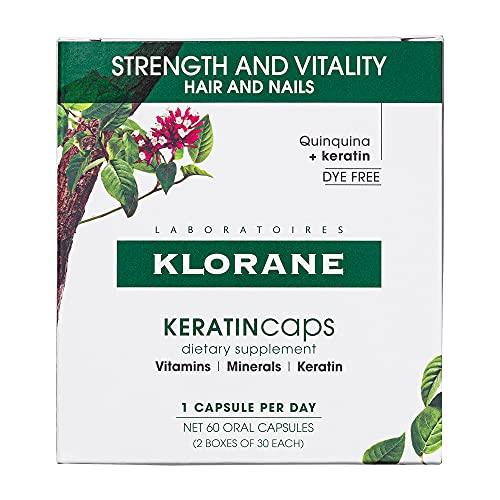 Klorane KERATINcaps Dietary Supplements with Biotin, Quinine, B Vitamins, for Thicker, Healthier Hair & Nails, Caffeine-Free, Dye-Free 60 day supply