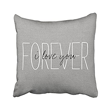 Acelive 16x16 inches Cotton Linen Standard Pillowcase Home Decorative Cushion Case Rustic Gray I Love You Forever Pillow Cover For Valentine's Day Father's Day Mother's Day Gifts