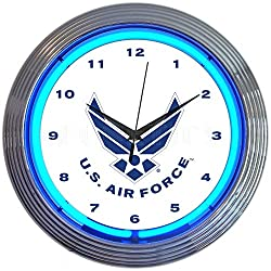 Neonetics Blue USAF United States Air Force Neon Clock 15 Inch Diameter with Chrome Finish Rim – 8USAFB
