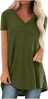 Bluse Damen Sommer sexy V-Ausschnitt Oberteile Damen große großen Solide Tshirt Damen Sommer Kurzarm Basic Einfachheit Damenmode Plus Size Print Lange T-Shirt Bluse S-5XL