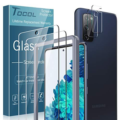 TOCOL 4 Piezas Protector de Pantalla para Samsung Galaxy S20 FE 2 Piezas Cristal Templado y 2 Piezas Protector de Lente de cámara HD Vidrio Templado Marco de posicionamiento 9H Dureza