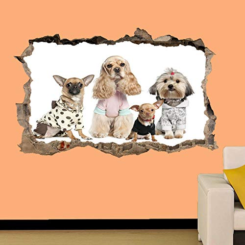 HUGF Wandtattoo DOGS IN FASHION SHOW 3D WALL STICKER ROOM DECORATION DECAL MURAL