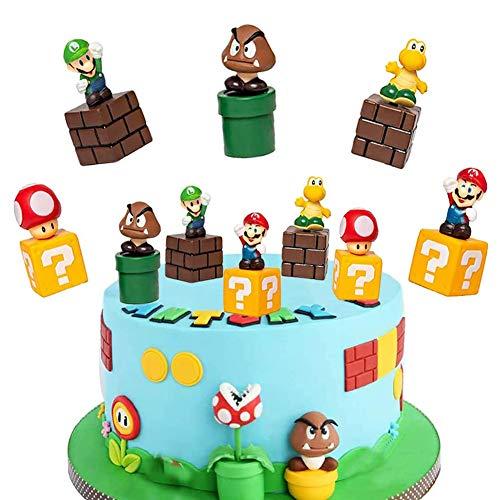 TRRY Super Mario Cake Topper Super Mario Decorazione Torta di Compleanno Forniture per Feste di Compleanno Cake Party Topper 5 Pezzi