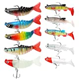 Soft Fishing Lures for Bass Jig Head Fishing Soft Plastic Lures with Hook Sinking Swimbaits for Saltwater and Freshwater Fishing Lures Kit (Pack of 10)