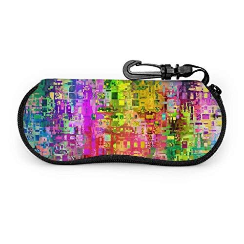 Estuche para gafas Gafas Casos Color Abstracto Artefacto Pixel Textures Estuche de gafas de sol de neopreno con cremallera suave Bolsa protectora para gafas