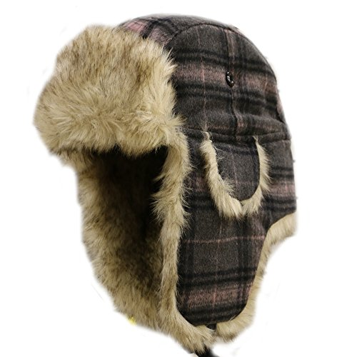 City Hunter Trapper Bomber Cap Hat Faux Fur,Black,One size