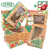 12 Christmas Cookie Boxes -Large Kraft Holiday Bakery Food Container for Gift Giving with 80 Count...