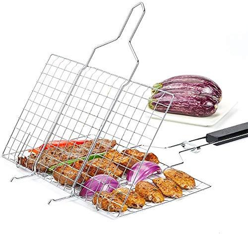 Wzmdd Draagbare BBQ Vis Grilling Basket Roosters met houten handvat, Extrale Grote Barbecue Burger Groente Worst Voedsel Vlees Flip Opvouwbare Rek Houder, 430 RVS - 62X35X2.4CM
