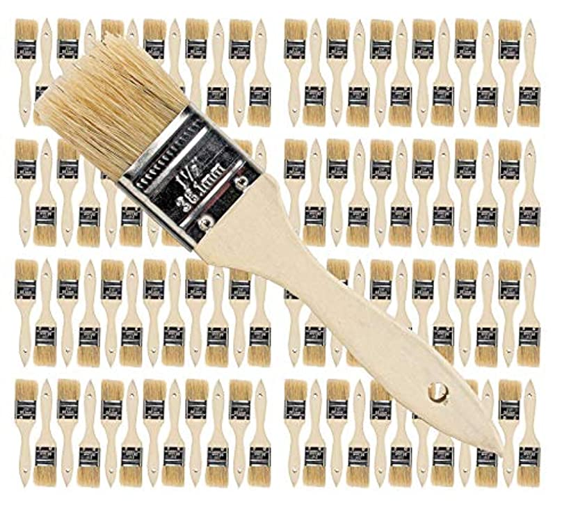 96 Pk- 1.5 inch Chip Paint Brushes for Paint, Stains,Varnishes,Glues,Gesso
