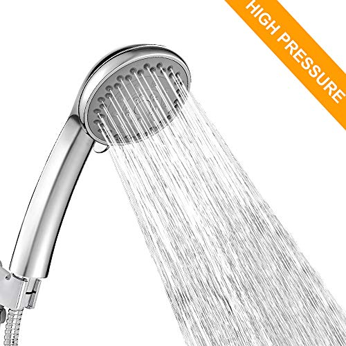Shower Head,CUCM High Pressure 5 Spray Settings with Pause Control Adjustable Massage Spa Hand Held Showerhead with 1.5M Hose,Chrome
