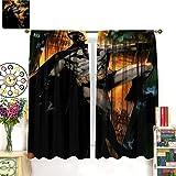 Petpany Cortina redonda de microfibra de Batman The Dark Knight Gotham Movie de 183 x 160 cm, para cocina y cocina, bolsillo para barra de cortina para dormitorio/sala de estar