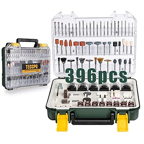 TECCPO Rotary Tool Accessories Kit, 396pcs Grinding Polishing Drilling Kits, 1/8