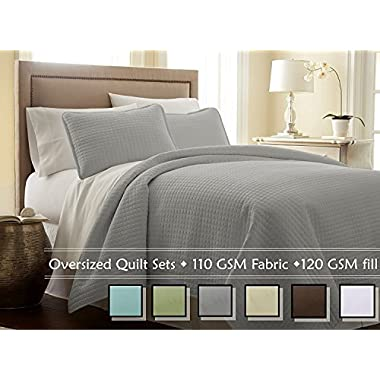 Southshore Fine Linens 3 Piece Oversized Quilt Set - Steel Grey FULL/QUEEN