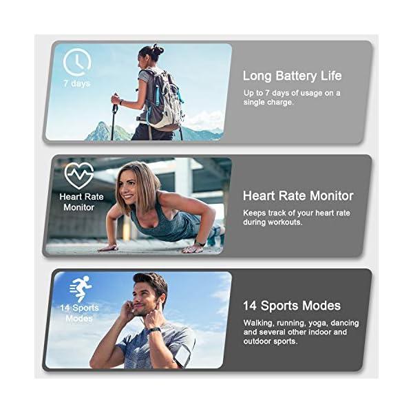 LETSCOM High End Fitness Trackers HR, IP68 Reloj de fitness impermeable con monitor de ritmo cardíaco, contador de pasos… 4