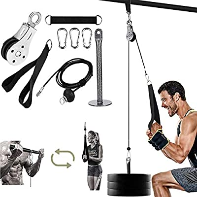 LAT Pull Down Machine Fitness Cable System Wrist Trainer Arm Strength Training Equipment for Triceps Pull Down, Bicep Curls, Triceps Extensions Fitness Workout (Handle)