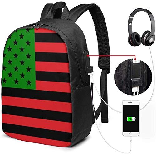RROOT Unisex Rugzak met USB Opladen Port Afro-Amerikaanse Vlag Rood Zwart en Groen Klassiek Mode Algemene Zakelijke Boekenkast