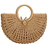 Straw Bags for Women,Hand-woven Straw Top-handle Bag with Round Ring Handle Summer Beach Rattan Tote Handbag (Khaki)