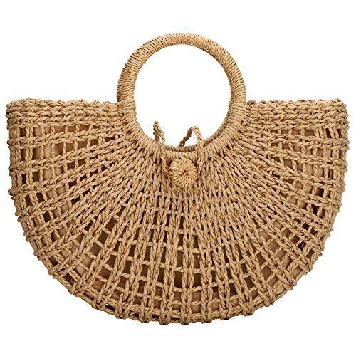 Straw Bag for Women Large Woven Bag Round Handle Ring Tote Retro Purse Hobo Summer Beach Bag (Khaki)