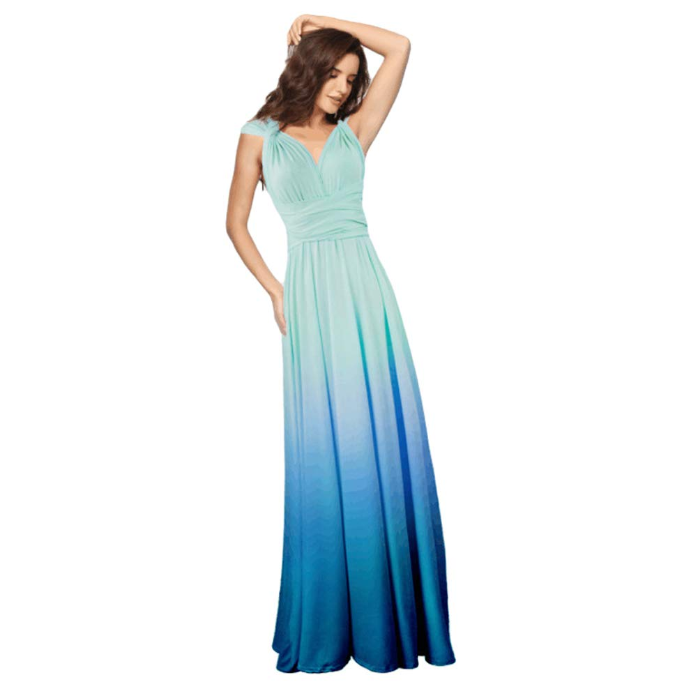 Available at Amazon: Women Transformer Tie Dye Convertible Multi Way Wrap V-Neck Wedding Bridesmaid Dress Halter Evening Cocktail Party Maxi Gown