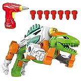 YIER Transforming Dinosaur Gun Space Battle Toy Gun with Lights & Sound Take Apart Dinosaur Toy LED Shooter for Boys Toddlers Kids