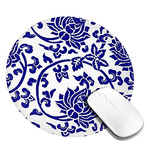 Blue White Floral Mouse Pad Porcelain Cute Round Mousepad with Non-Slip Rubber Base Wireless Desk Mat for Laptop Computer Gaming Office Traditional Flower Ceramic Style Design 7.9x7.9 in