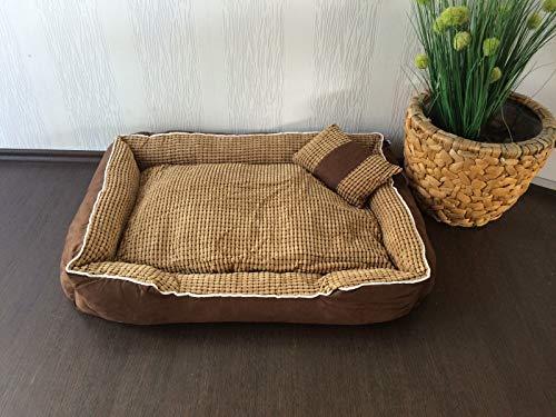 Lemio - hondenbed Sweet Dreams hondensofa hondenkussen hondenmand knuffelig wasbaar, S (60x40x20 cm), Bruin - beige