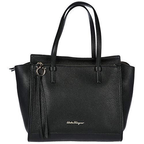 Salvatore Ferragamo borsa donna a spalla shopping in pelle nuova tote nero