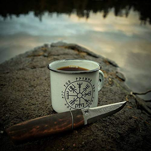 Weiße Emaille-Tasse mit Wikingerkompass-Aufdruck, Emaille-Tasse, Camping-Tasse, Reise-Tasse, isländischer Kompass-Symbol, Wikinger-Vegvisir.