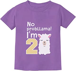 Gift for 2 Year Old Girl No Probllama 2nd Birthday Toddler Kids T-Shirt
