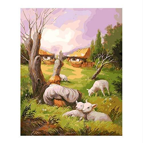 mwioq Cabras Y Árboles Pintura Al Óleo Imagen por Números Dibujo por Número DIY Dibujo Flores De Color Púrpura 40X50Cm