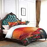 DRAGON VINES 4 Bedding Cover Set Sheet Set Bed Clothes Mushrooms Magic Place Imaginary Clouds Clipart Leaves Poppies Spellbound Black White Sheets Orange Red Taupe W90 xL90