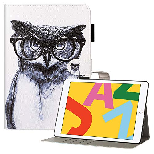 Coopts iPad 7th Generation Case with Pencil Holder, iPad 10.2 2019 Case, Premium PU Leather Protective Folio Stand Smart Wallet Case for iPad 10.2' 2019/Air 3 2019/Pro 10.5 2017, Knowledgeable Owl