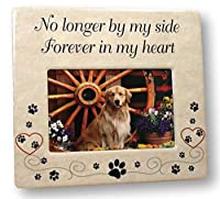 BANBERRY DESIGNS Pet Memorial Ceramic Picture Frame - No Longer by My Side Forever in My Heart - Loss of a Pet Gift - Pet Photo Frame - Pet Sympathy Gift - in Memory of a Pet [並行輸入品]