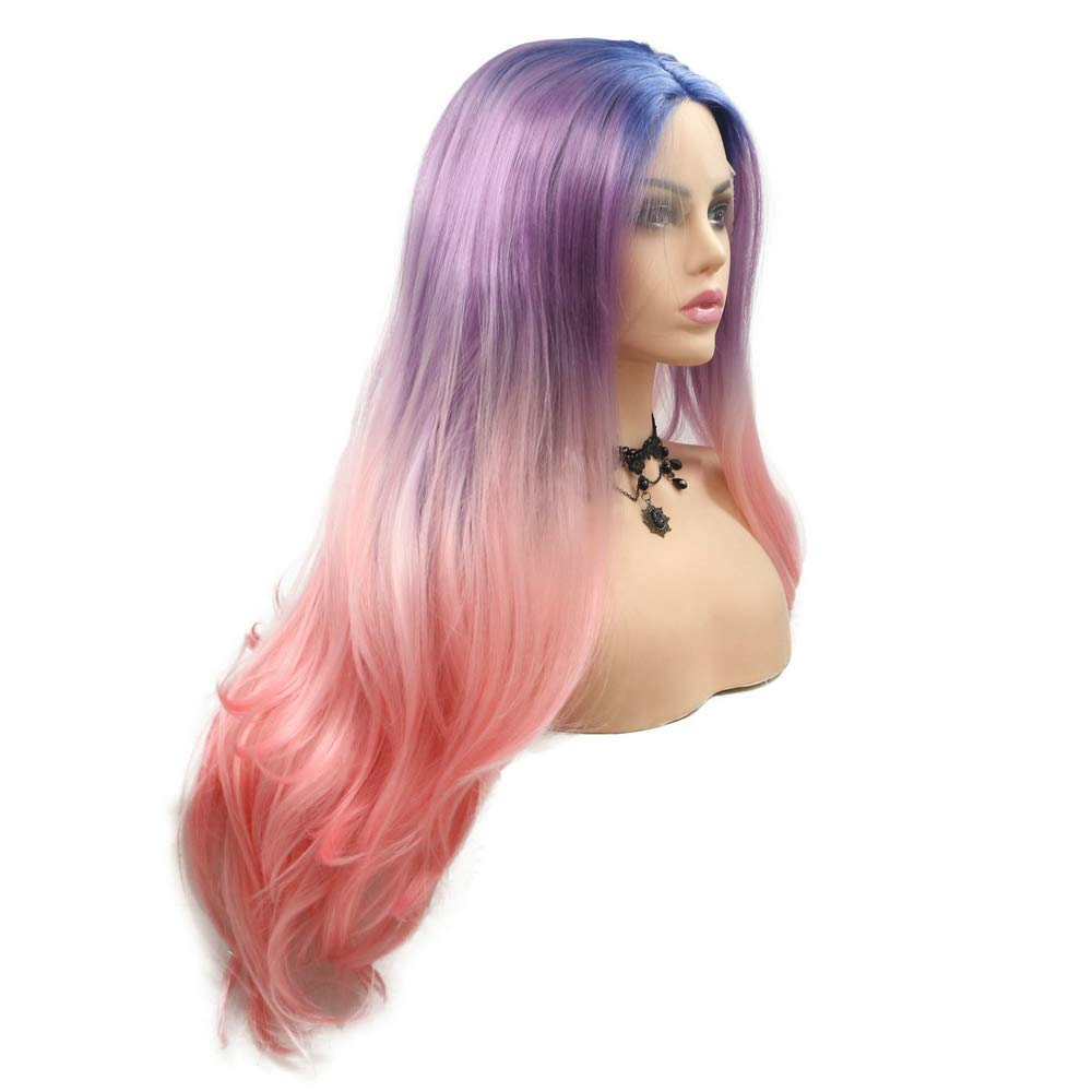 Xiweiya Mixed Luxury Rainbow Blue At the price of surprise Purple Pink Wavy Wig Water Front Lace