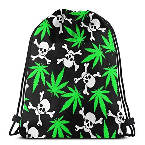 U Shape Hojas de Cannabis con Calaveras Mochila con Cordón Mochila Gimnasio Bolsa de Baile Mochila para Senderismo Playa Bolsas de Viaje