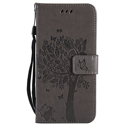 LODROC Huawei P20 Hülle, TPU Lederhülle Magnetische Schutzhülle [Kartenfach] [Standfunktion], Stoßfeste Tasche Kompatibel für Huawei P20 - LOKT0101084 Grau