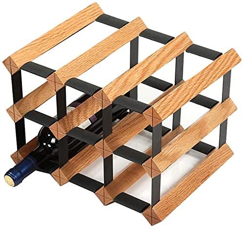 Estante de vino de moda, estante de vino para decoración de botellas de vino para restaurante, gabinete de madera maciza, barra (tamaño: S)