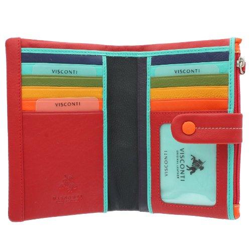 Portafoglio da Donna in Pelle Multicolore Visconti Mimi Collezione MALIBU M87 Rosso Multi
