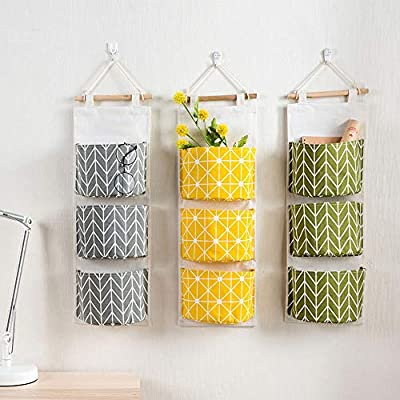 Wall Hanging Storage Bag, Over The Door Closet Organizer Linen Farbric Hanging Pocket Organizer with 3 Remote-Sized Width Pockets for Bedroom, Bathroom